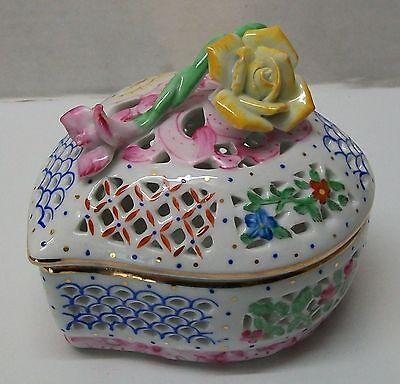 Heart Trinket Dish Jewelry Box Rose Lid Cut Out Designs Porcelain Vintage