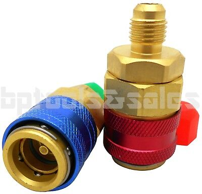 R134a AUTO QUICK COUPLER BRASS ADAPTERS LOW & HIGH SIDE A/C MANIFOLD SET