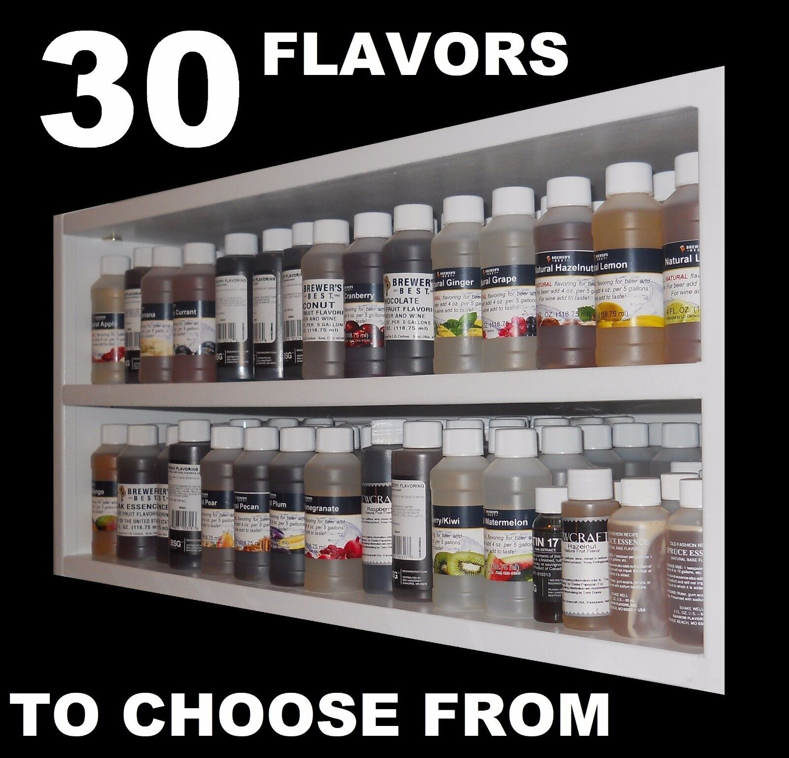 $3.95 - FLAVORINGS CHOOSE FROM 30 HOME BREWING FLAVORS FOR HOMEBREW BEER WINE MOONSHINE