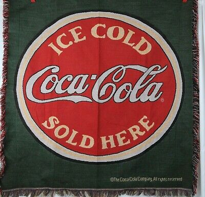 Coca Cola Throw Woven Tapestry Blanket Afghan Coke Sold Here Made in USA 50x60  Acrylic Tapestry Throw Blanket