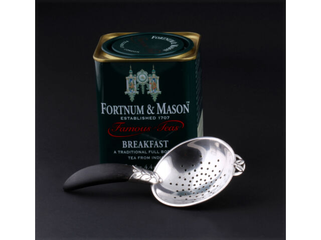 Antique Evald Nielsen Sterling Silver Tea Strainer with Ebony. Extremely RARE