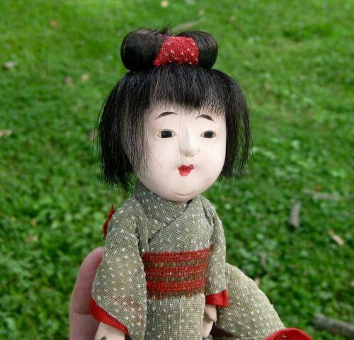 "Vintage small 8"" Japanese Gofun lady doll in kimono human hair glass eyes"