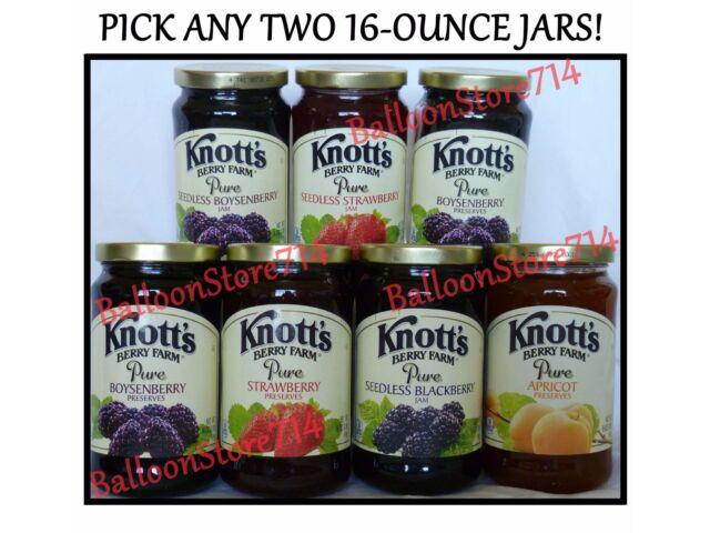 Pick any 2 large (16 oz) jars KNOTTS BERRY FARM Jam ~ Preserves ~ Jelly Knott's