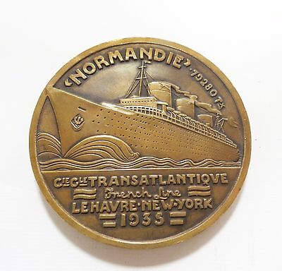 SS NORMANDIE-FRENCH LINE-1935 -LE HAVRE-NEW-YORK- BRONZE