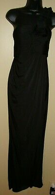 ADRIANNA PAPELL Asymmetric One Shoulder Cups Rosette Long Full Length Dress Sz 6