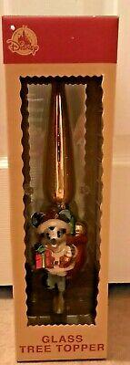 NEW NIB Disney Parks Christmas Good Tidings Santa Mickey Mouse Glass Tree Topper