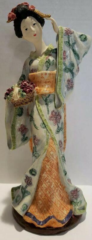 "Vintage Seymour Mann 11"" Resin Japanese Geisha Girl w/ Basket of Roses Figurine"