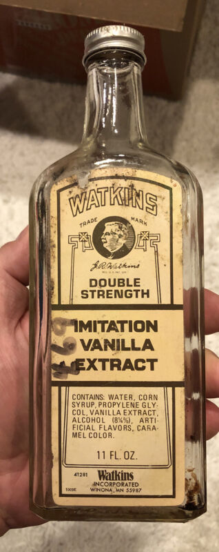 Vintage Watkins 11 Oz Glass Imitation Vanilla Extract Bottle With Metal Cap
