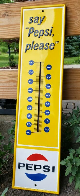 Beautiful Classic Vintage Pepsi Advertising Thermometer NOS Tin Soda Sign
