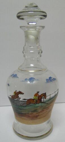 OLD VINTAGE 1960s HAND PAINTED EQUESTRIAN HORSE JUMPING RACING DECANTER BOTTLE