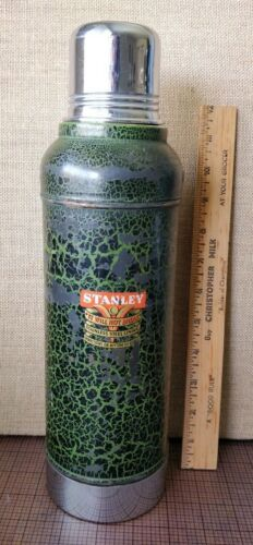 1915 - 1921 Antique Stanley Vacuum Bottle Metal Thermos - WITH CORK, NICE COND