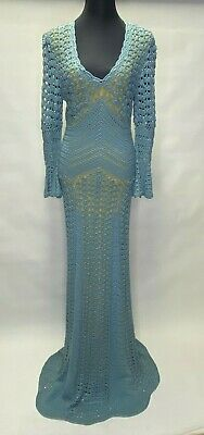 Temperley London Women Teal Color Knitted Long Maxi Dress Size 12 ^
