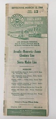 Vintage 1949 Pacific Electric Railway Timetable #13 Sierra Madre Arcadia Lines