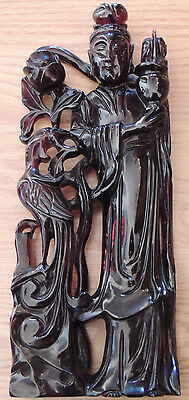 Large Chinese Carved Cherry Amber Bakelite Kwan Yin Phoenix
