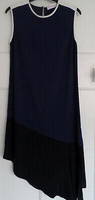 Jucca Ladies Blue Black & Cream Asymetrical Shift Dress Italy size 42 UK10