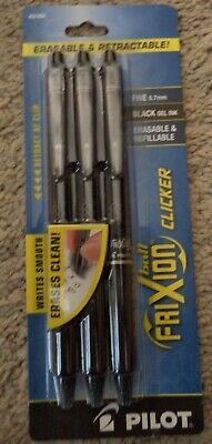 Pilot Frixion Retractable Erasable Clicker Black Gel Pen Ink 31464 Fine 0.7mm
