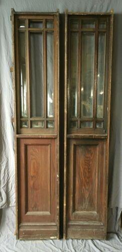Pr Antique Chestnut Entryway Door Sidelights Window Beveled Glass 17x86 143-19E