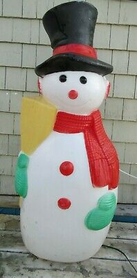 """Old Vintage Blow Mold Snowman TPI Outdoor Christmas Decor 41"""" Tall"""