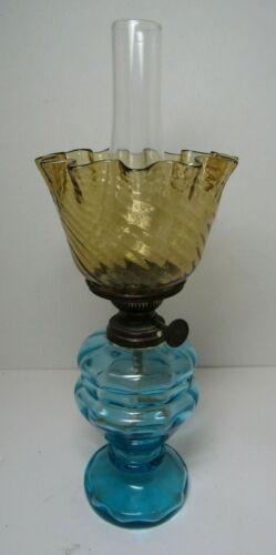 Antique Silber Blue Paneled Glass Miniature Oil Lamp wAmber Swirl Ruffled Shade