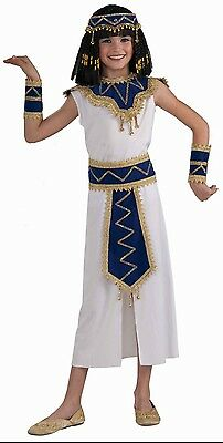 Girls Cleopatra Costume Egyptian Nile Princess Egypt Queen White Dress Kids NEW (Egyptian Costume)