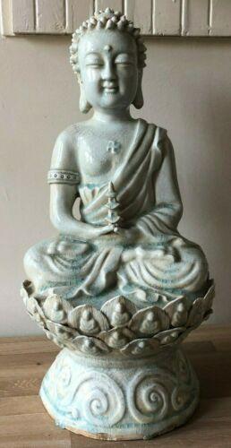 Antique Chinese Large Celadon Buddha Statue