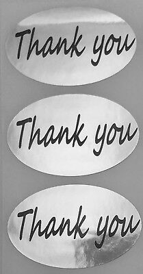 Labels And More 1.25 X 2 Oval Thank You Mailing Retail 500 Blk-silv Stickers