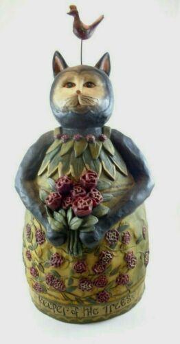 RARE E Smithson Black Cat with Bird on Head Figurine Signed