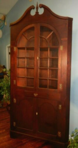 Antique Walnut Corner Cupboard Cabinet 22 Pane Divided Glass Arched Doors