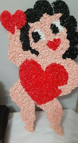 Vtg Melted Popcorn Plastic Betty Boop Valentines Heart Hanging Window Wall Decor