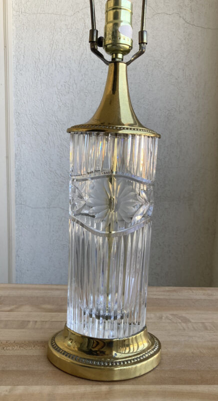 Vintage Dresden Lamp Cut Crystal Brass Accents Signed