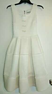 Mimi Sol Italy Girl Ivory Mesh Party Dress Midi Bow accents 14a 12-14 Teen 0-2