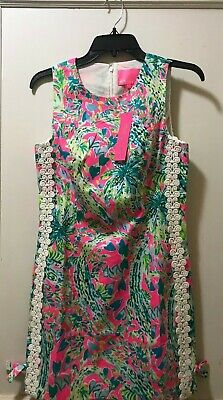 Lace Shift -  NEW LILLY PULITZER WOMEN'S MILA SHIFT DRESS WITH WHITE LACE TRIM DETAILS W/TAGS