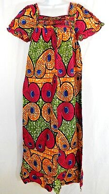 African Wax Womens Ankara Long Maxi Dress With Details Square Neckline Approx. L (Ankara Square)