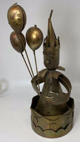 Vintage Copper Metal Clown w/Balloons Music Box