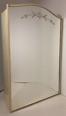 Vintage Mid Century Modern White Metal Medicine Cabinet With Mirror Etched