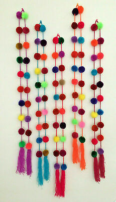 Handmade Mexican Pom Pom Garland Bright Multi-Colored Decor Wholesale Available ()
