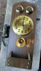 Vintage Sessions United Clock Old Style Crank Wall Telephone- USA ~7 1/4 x 20