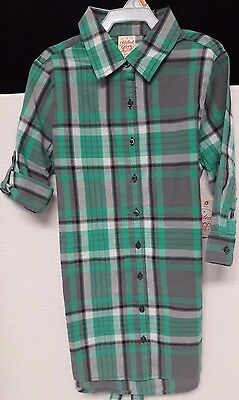 Back To School Girls Button Front Plaid Tunic Size (7-8)
