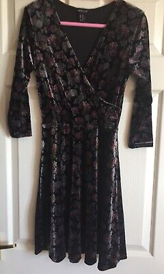 New Look Velvet Rose Black Grey Pink Steampunk Gothic Dress Size 10