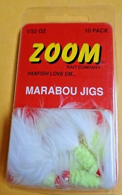 2pks Of 10 Zoom 1//32 oz Marabou White Crappie Fishing Jigs//Lures