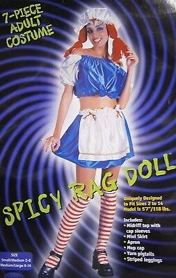 Spicy Halloween-kostüme (7 - PIECE COMPLETE SPICY CRAZY RAG DOLL HALLOWEEN COSTUME SIZE S/M)