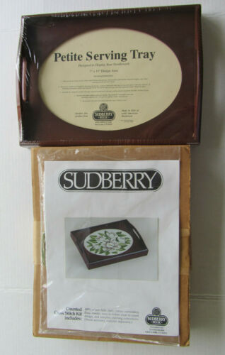 Sudberry House Petite Oval Wood Serving Tray + Magnolia Cross Stitch Kit