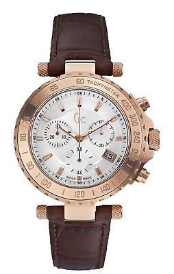 GUESS COLLECTION, SWISS MADE, CHRONOGRAPH WATCH,LEATHER BAND,  X58004g1S, NIB,