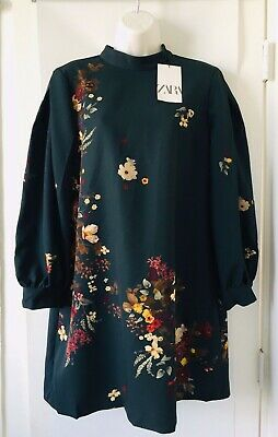 NWD Zara Bottle Green VOLUMINOUS PRINTED DRESS Floral High Neck Size XS   O1806