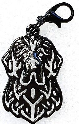 Newfoundland Dog Charm - Newfoundland Dog Head Purse Charm Dangle Zipper Pull Black Silver Alloy Jewelry