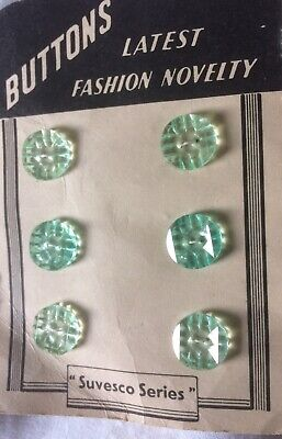 Pretty Vintage Small Green Buttons 12mm X 6 New Old Stock