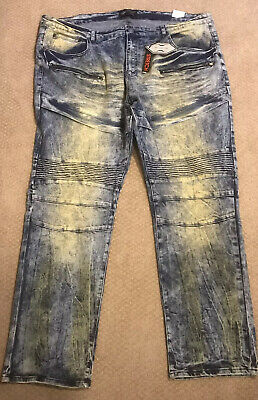 NWT Mens ROAD NARROWS NYC Acid Wash/Blue Dirt Denim Jeans - Size 46 x 33 Blue Acid Stain