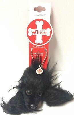 Fuzzy Nation Black Poodle 2 Magnets Front And Back Dog Head Black Color - Black Poodle Stuffed Animal