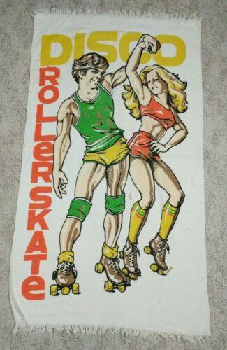 "VTG 70s 80s  BEACH TOWEL ""DISCO ROLLERSKATE""  Cannon Man Woman Dancing Skates"