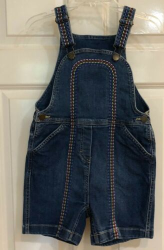 HANNA ANDERSSON RAINBOW STITCH OVERALL ROMPER SHORTALLS DENIM 130 US 8 GIRLS